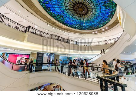 HONG KONG - MAY 28, 2015: interior of shopping mall in Hong Kong. Hong Kong shopping malls are some of the biggest and most impressive in the world