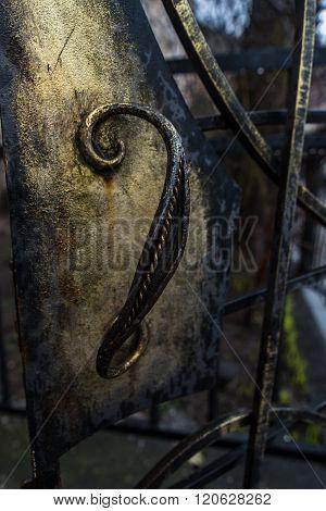 Forged iron door floral petals element close up