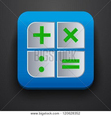 Calculator symbol icon on blue