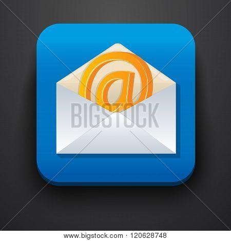envelope symbol icon on blue