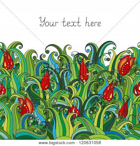 Doodle flower and grass seamless border pattern. May be used like an Invitation card design. Vector stock illustration.