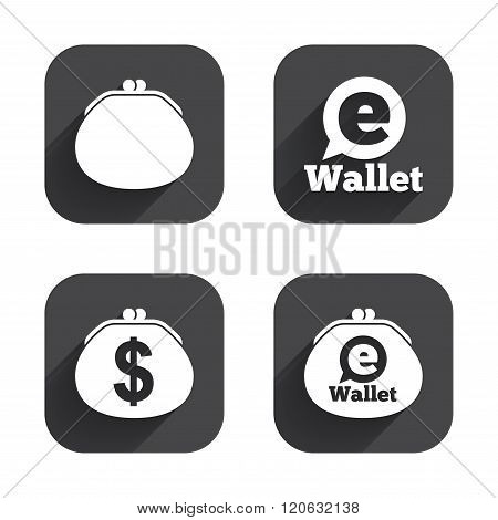 Electronic wallet icons. Dollar cash bag sign. eWallet symbol. Square flat buttons with long shadow. poster