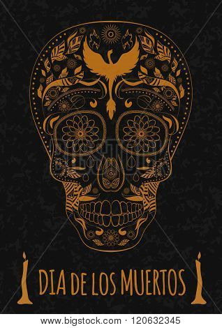 Dia de Muertos Tattoo Skull Day of The Dead Monochrome. Flyer Template. stone texture