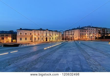Marii Panny Square In Kielce, Poland, In The Evening.
