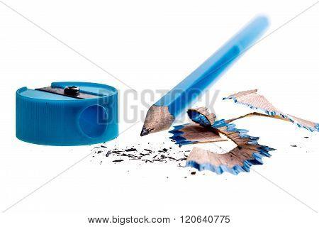 Sharpened pencil sharpener on a white background