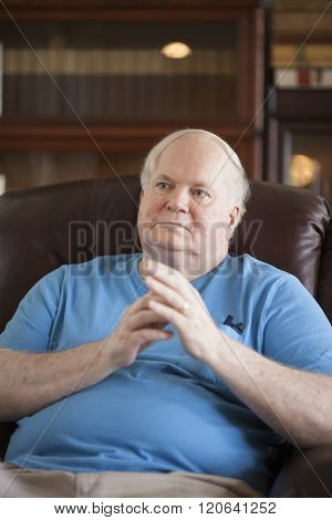 BEAUFORT, SOUTH CAROLINA, USA- SEPTEMBER 17, 2015: Candid portrait of famous writer Pat Conroy during an interview in September 2015. Conroy died March 4, 2016.