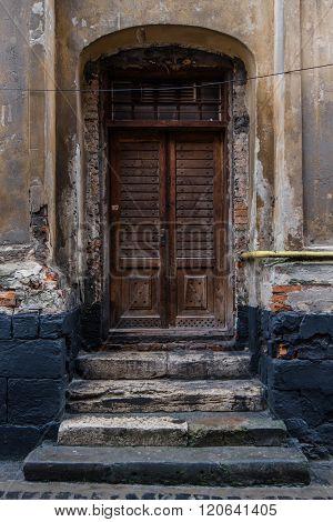 Door of an old house in lviv, Ukraine.