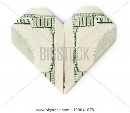 Hundred Dollars Heart Isolated
