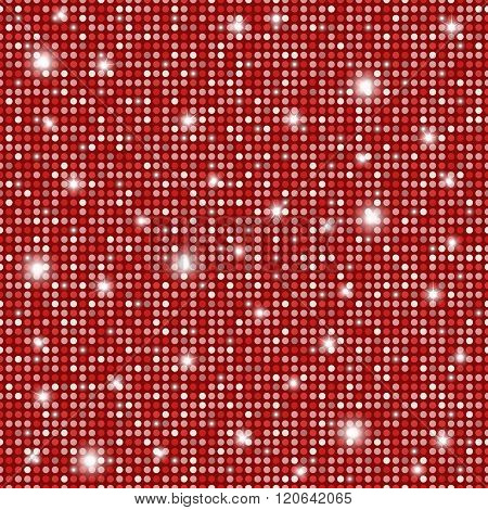 Glamour Red And White Shining Rounds Seamless Texture Background. Disco, Luxury, Information Or Netw