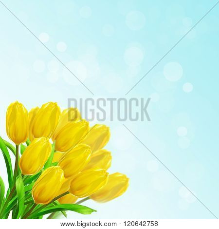 Card bright yellow tulips collected in a bouquet