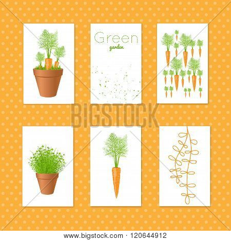 Set Of Vector Tags With Carrots.gift Tags And Cards With Fresh Greens And Carrot. Stock Vector Illus