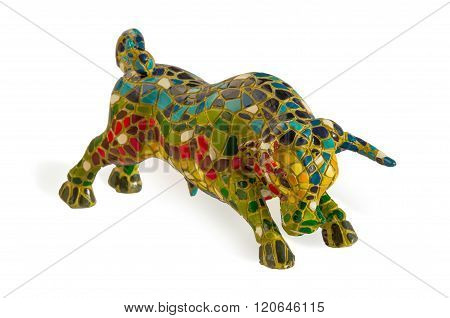 Miniature Mosaic Figure Of Bull Isolated Over White.
