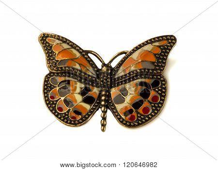 Coloured Enamel Brooch Butterfly On White.