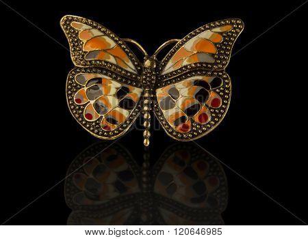 Coloured Enamel Brooch Butterfly On Black.