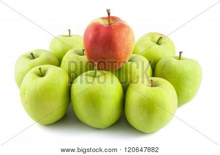 One Red Apple On Green Apples