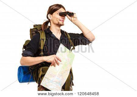Man Backpacker With Map Looking Through Binoculars