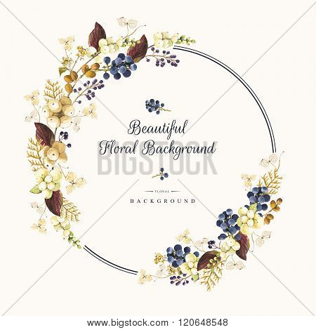 Illustration with watercolor winter berries and plants. Beautiful bouquet.