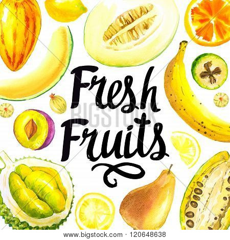 Illustration with watercolor yellow food. Sketch set of fresh fruits.