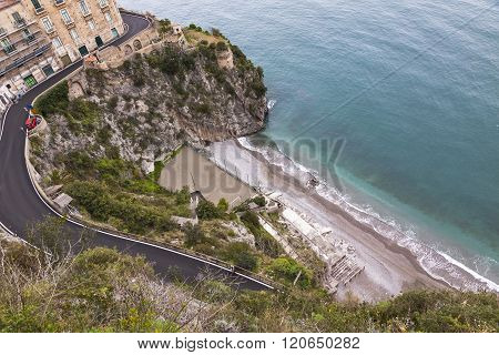 Aerial View Of The Beach On Amalfi Seacoast, Italy