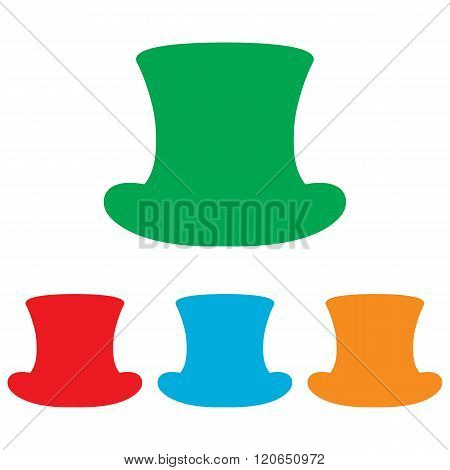 Top hat sign. Colorfull set