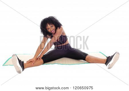 African American Woman Stretching.