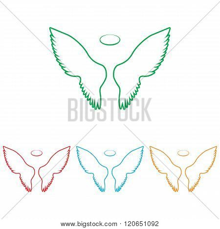 Wings sign. Colorfull set