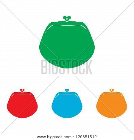 Purse sign. Colorfull set isolated