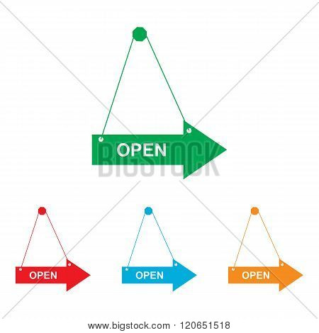 Open sign. Colorfull set