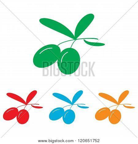 Olives sign. Colorfull set