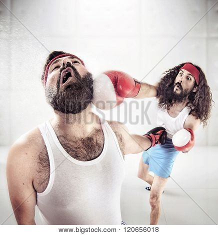 Two nerdy guys boxing