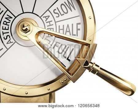 Full Ahead concept - Vintage ships engine room telegraph on full speed ahead