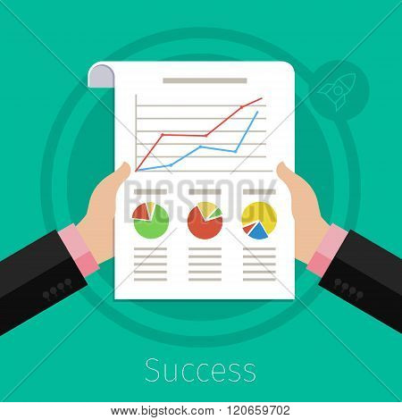 Businessman hands with financial chart