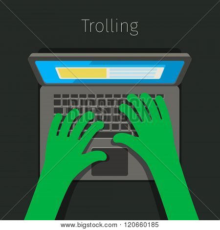 Concept of trolling in internet.