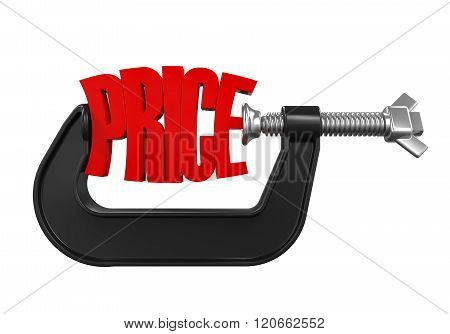 Price in Clamp isolated on white background. 3D render poster