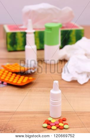 Pills And Nose Drops For Colds, Used Handkerchiefs And Other Medication