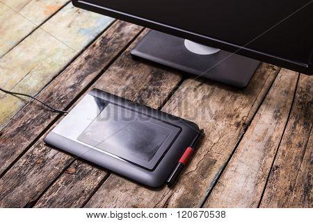 Photographer Or Designer Workplace At Wooden Desk