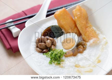 Chinese porridge With Yaw Char Gui as breakfast