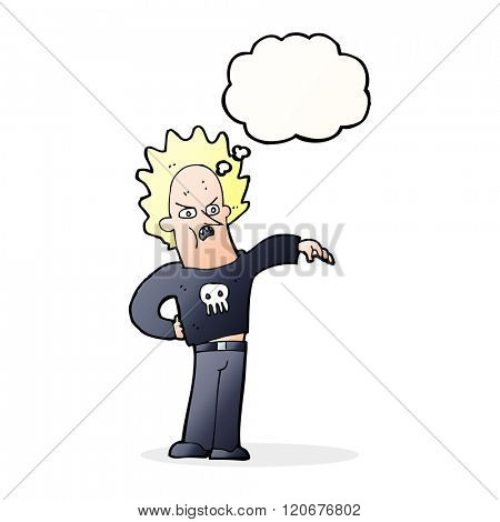 cartoon nasty boy with thought bubble
