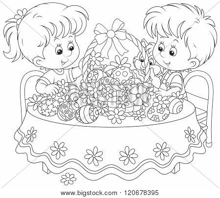 Children with an Easter basket