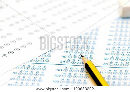 Answer Sheets On Table
