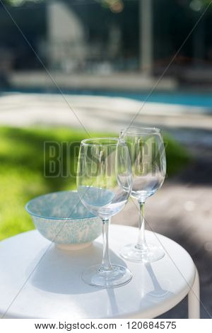 Two Wineglasses And Bowl