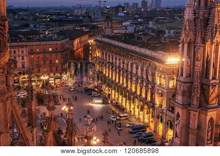 Milan, Italy: aerial view of Cathedral square, Piazza del Duomo