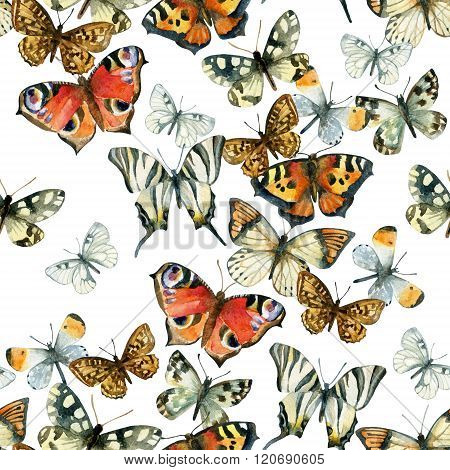Beautiful Watercolor Butterflies Seamless Pattern