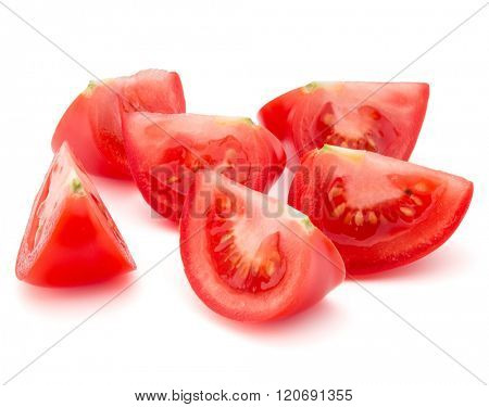 Tomato vegetable slice isolated on white background cutout