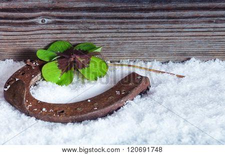 Horseshoe In Snow, Happiness Symbol