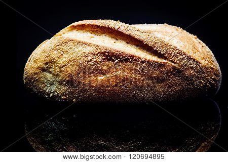 Potato Bread Roll, On Black Background, Reflection