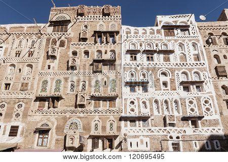 Traditional Yemeni Buildings In Sanaa Old Town Yemen