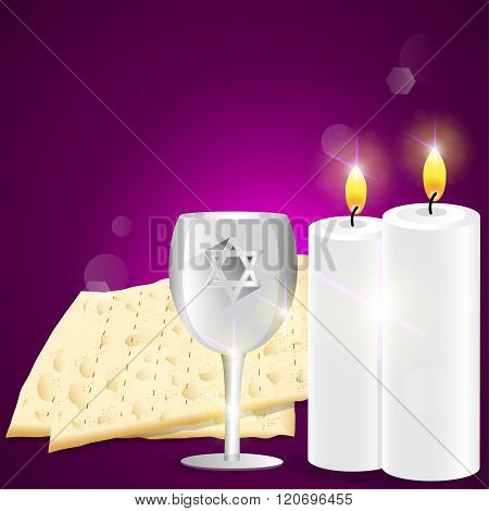 Illustration Of Candles And Kiddush Cup With Matzot.