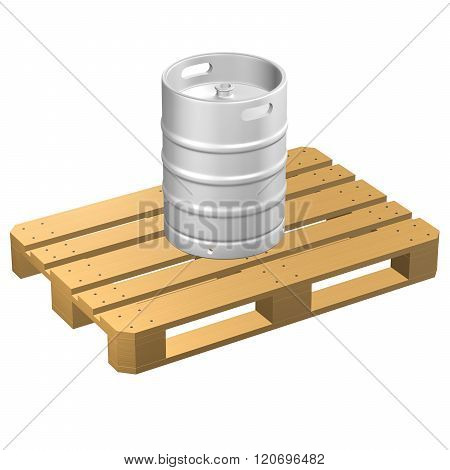 Wooden Pallet With Keg, Isolated On White Background.