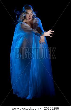Elven conjures girl isolated on black poster